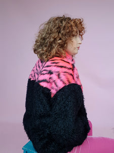 Half-Zip Pullover in Pink Zebra and Black Teddy