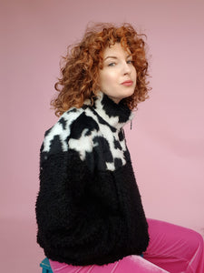 Half-Zip Pullover in Cow Fur and Black Teddy