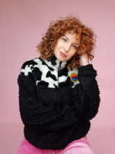 Load image into Gallery viewer, Half-Zip Pullover in Cow Fur and Black Teddy