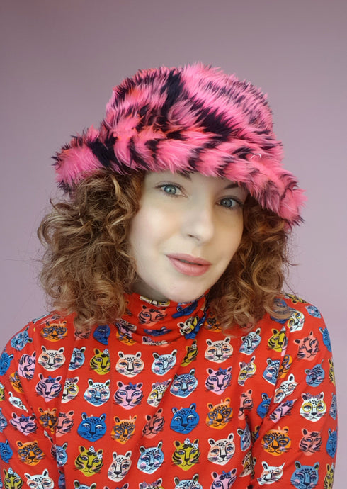 Bucket Hat in Pink Zebra Faux Fur