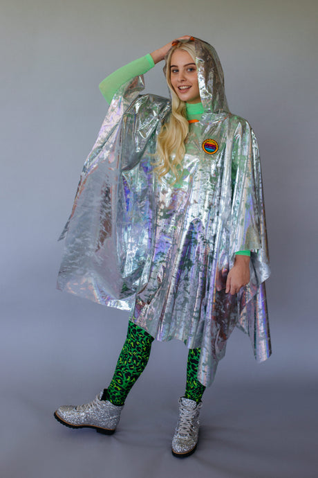 Holographic Rain Poncho in Silver