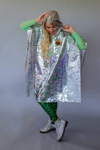 Load image into Gallery viewer, Holographic Rain Poncho in Silver