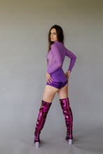 Load image into Gallery viewer, Hotpants in Purple Holo Foil
