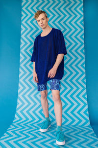 Blue Lurex Oversize T-Shirt -  - Megan Crook