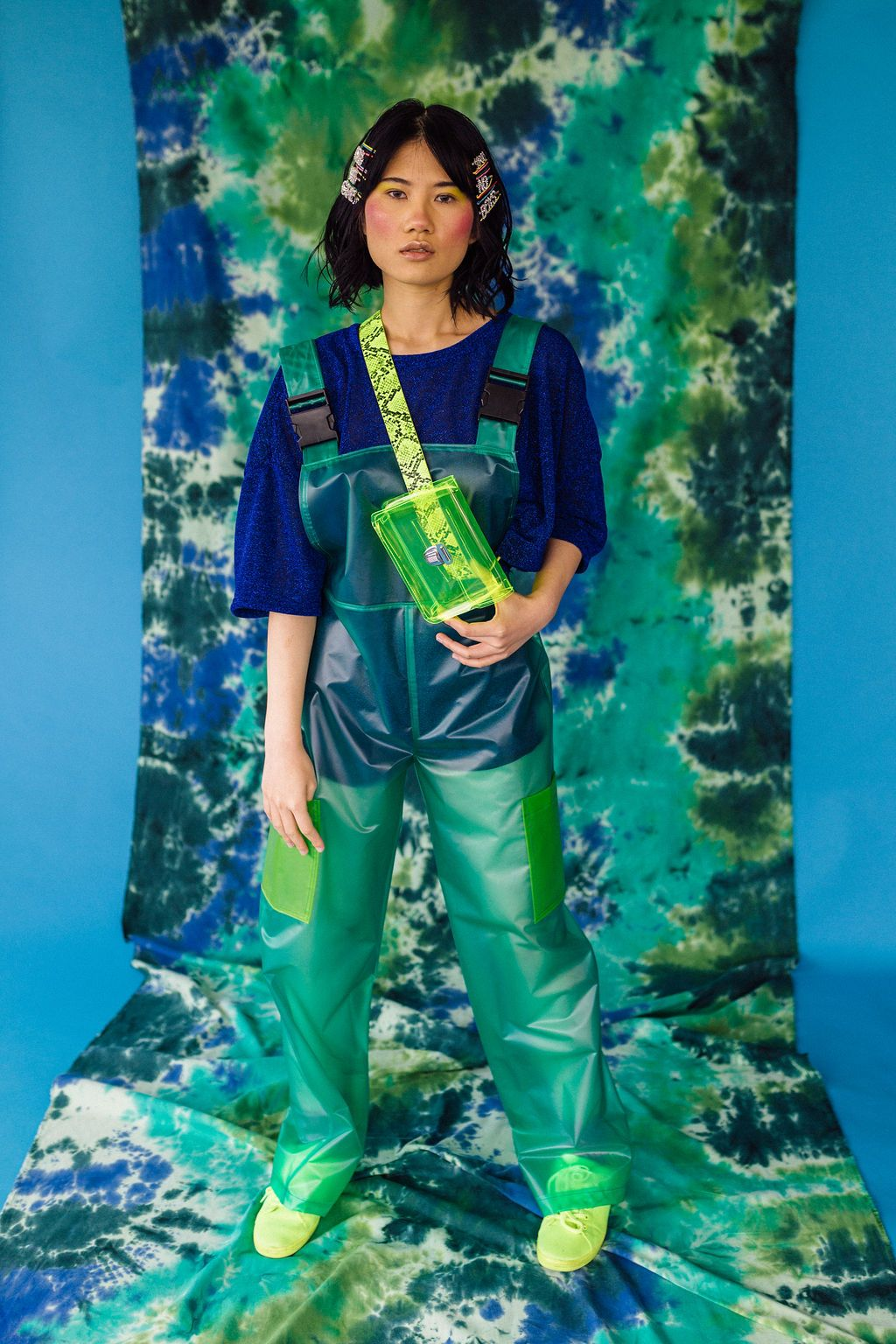 Unisex PU Dungarees in Green