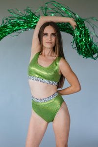 Green Foil Bralette with Elastic