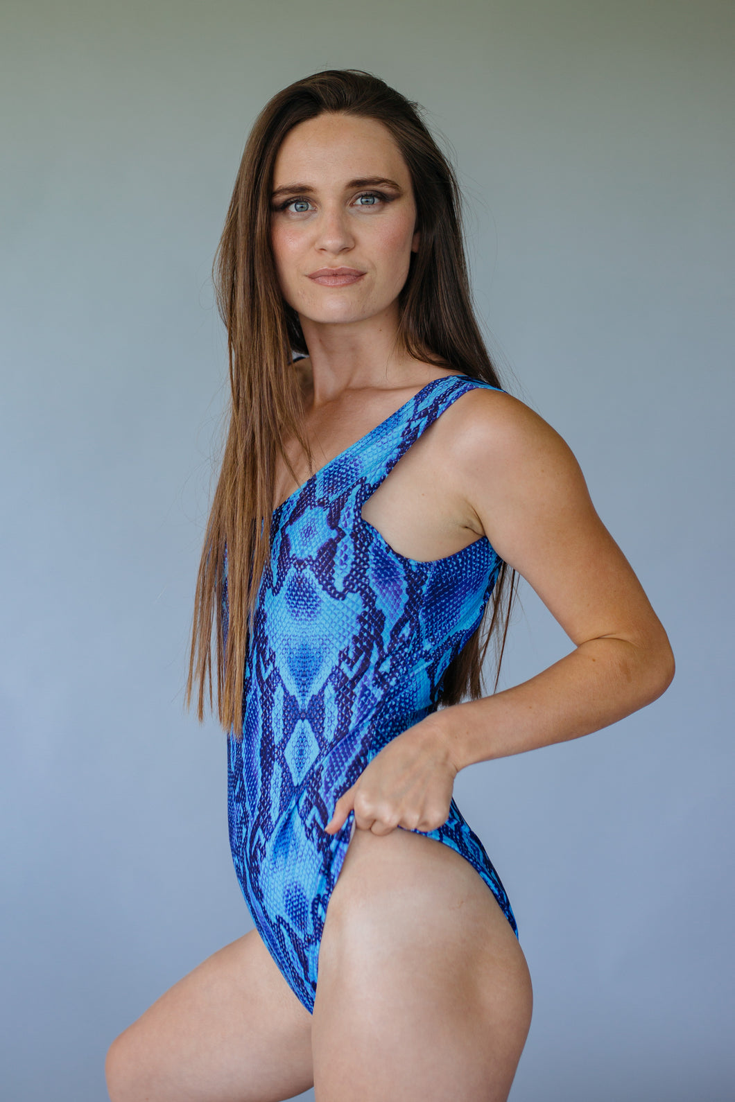 Swimsuit in Blue Viper Print