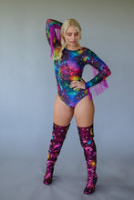 Load image into Gallery viewer, Fringe Bodysuit in Cosmic with Purple Fringing