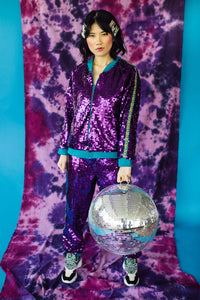 Sequin Stripe Bomber Jacket in Purple
