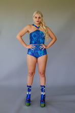 Load image into Gallery viewer, Hotpants in Blue Viper Lycra