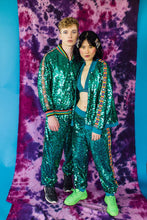 Load image into Gallery viewer, Sequin Stripe Bomber Jacket in Teal