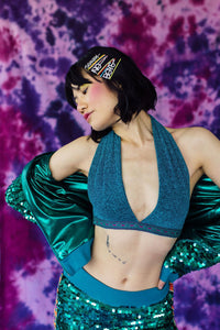 Lurex Halter Top in Teal