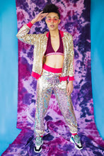 Load image into Gallery viewer, Sequin Stripe Trackies in Gold