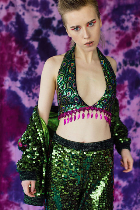 Sequin Plunge Crop Top in Peacock Sequins