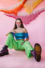 Load image into Gallery viewer, Flares- Sequin Lycra- Neon Yellow - Trouser - Megan Crook