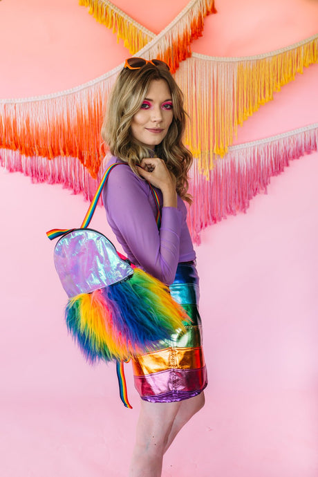 Backpack- Rainbow Fur - Bag - Megan Crook
