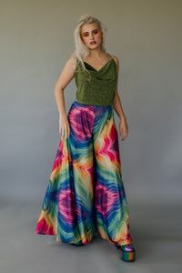 Super Wide Leg Bottoms in Rainbow Lurex