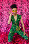 Cross Front Jumpsuit in Green Leopard Lycra - Jumpsuit - Megan Crook