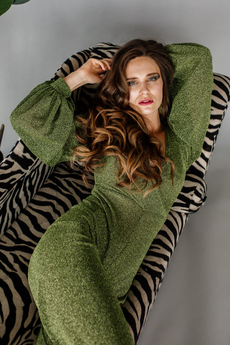 Cross Front Jumpsuit in Green Lurex