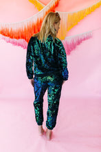 Load image into Gallery viewer, Track Bottoms- Velvet Sequin- Mermaid - Trouser - Megan Crook