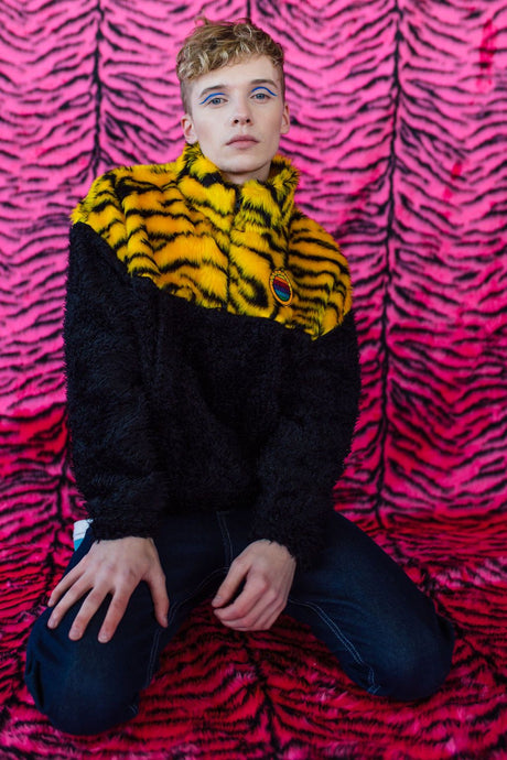 Half-Zip Pullover in Yellow Zebra and Black Teddy. - Jumper - Megan Crook