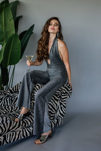Plunge O-Ring Jumpsuit in Lurex
