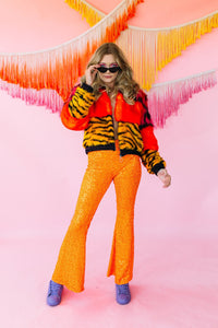 Flares- Sequin Lycra- Neon Orange - Trouser - Megan Crook
