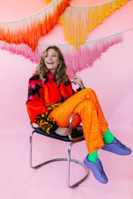Load image into Gallery viewer, Flares- Sequin Lycra- Neon Orange - Trouser - Megan Crook