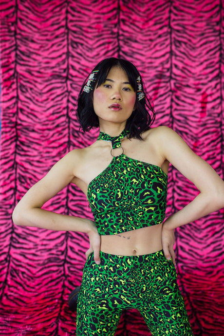 O-Ring Halter Crop Top in Green Leopard Lycra - Top - Megan Crook