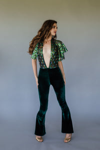 Caped Jumpsuit - Plunge Sequin Flare