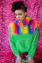 Load image into Gallery viewer, Half-Zip Pullover in Rainbow Fur and Green Teddy. - Jumper - Megan Crook