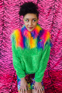 Half-Zip Pullover in Rainbow Fur and Green Teddy. - Jumper - Megan Crook
