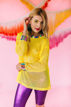 Load image into Gallery viewer, Tee- Knit Trim Long Sleeve Mesh in Yellow - Top - Megan Crook