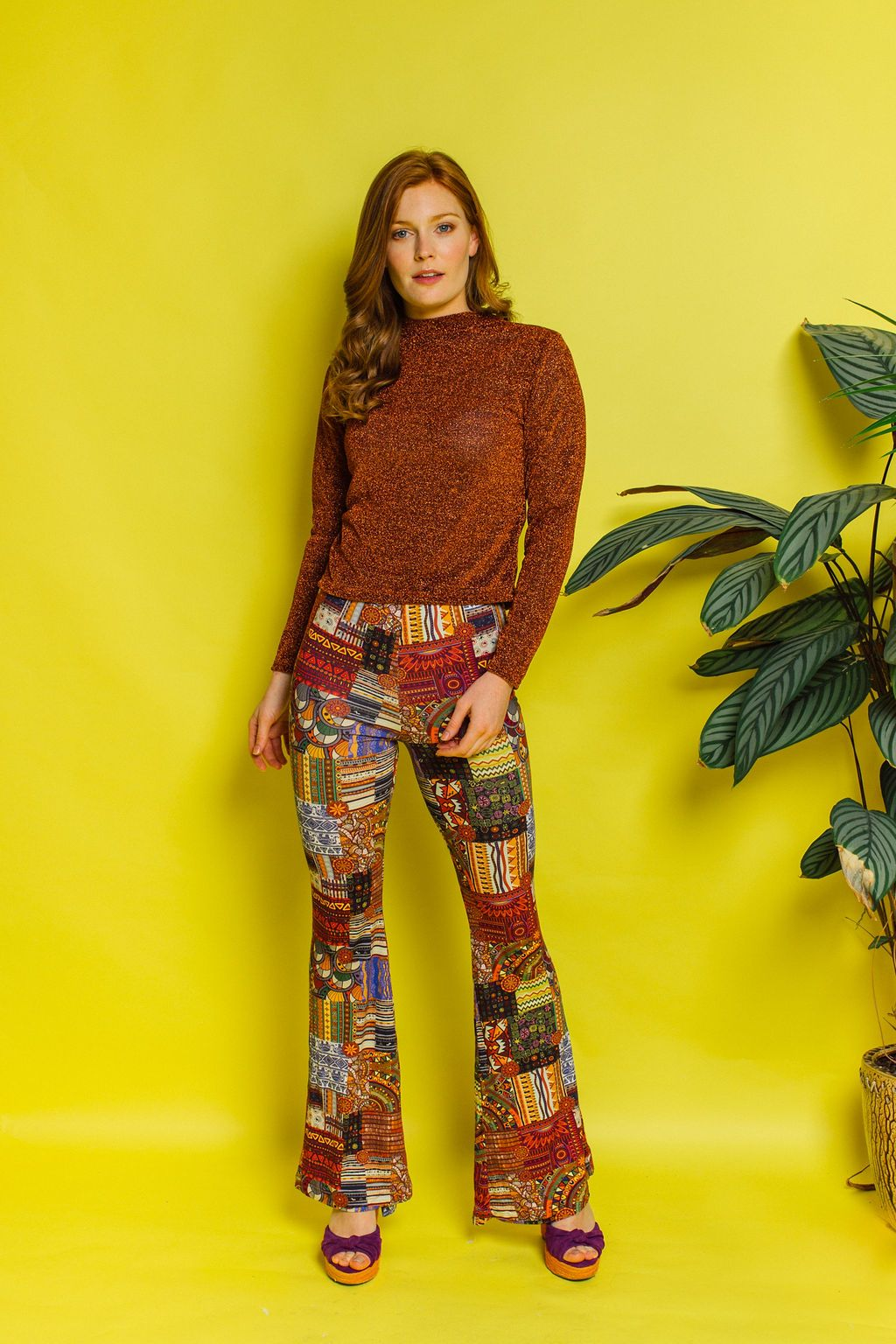 Jersey Flares in Brown Tribal Print - Trouser - Megan Crook