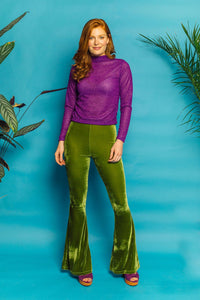 Flares- Velvet- Green - Trouser - Megan Crook