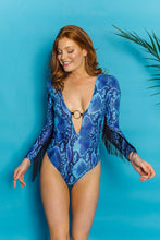 Load image into Gallery viewer, O-Ring Fringe Bodysuit in Blue Viper. - Bodysuits - Megan Crook