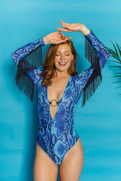O-Ring Fringe Bodysuit in Blue Viper. - Bodysuits - Megan Crook