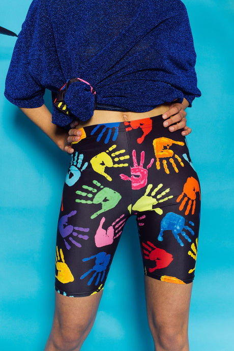 Bike Shorts in Hand Print Lycra. - Shorts - Megan Crook
