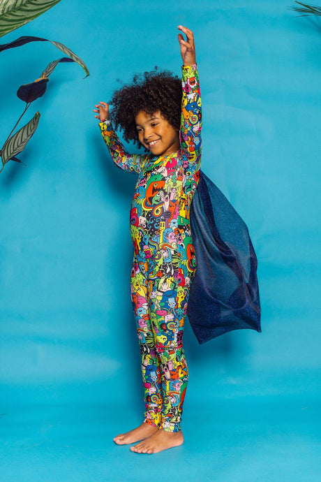 Caped Unitard in Monster Print - KIDS. - Jumpsuit - Megan Crook