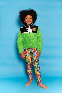 Half Zip Pullover in Cow Fur and Green Teddy - KIDS. - Top - Megan Crook