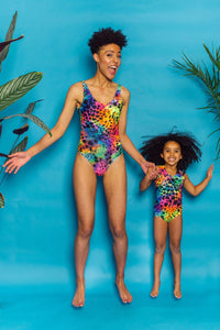 Swimming Costume in Rainbow Animal Print - KIDS