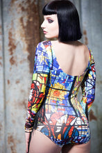 Load image into Gallery viewer, Fringe Bodysuit in Stained Glass Digital Print Jersey - Bodysuits - Megan Crook