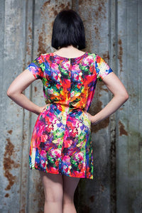 Swing Dress in Watercolour Digital Print Jersey - Dress - Megan Crook