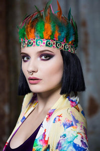Feather Headdress in Multi - Accessories - Megan Crook