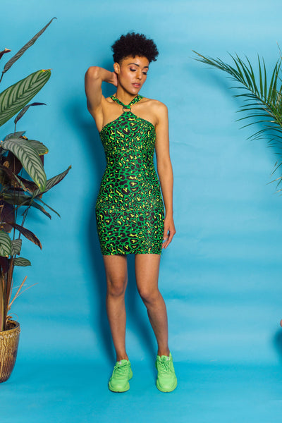 O-Ring Halter Dress in Green Leopard