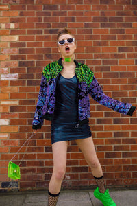 Faux Fur Sequin Bomber Jacket in Opal - Jacket - Megan Crook