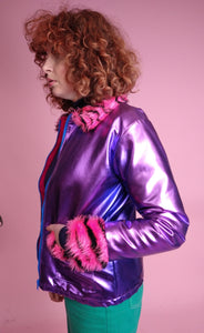 Jacket- Vegan Leather with Fur Trim