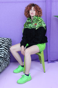 Half-Zip Pullover in Green Croc and Black Teddy