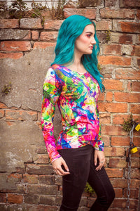 Long Sleeve Top in Artist Watercolour Digital Print Jersey -  - Megan Crook