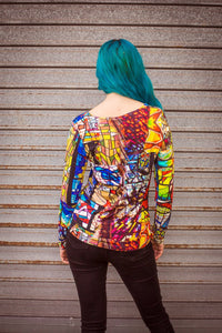 Long Sleeve Top in Stained Glass Digital Print Jersey -  - Megan Crook